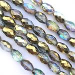 Etched Gold AB Oval Czech Glass Beads