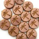 Silk Pink Rustic Picasso Dragonfly Czech Coin Beads