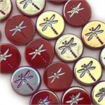 Coral Red Half AB 17mm Dragonfly Czech Glass Beads