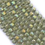 Olivine Shine 8mm Cathedral Czech Glass Beads