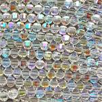 Crystal AB 8x6mm Fancy Cut Faceted Oval Chinese Crystal Glass Beads per Strand