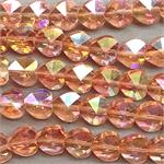 Dark Salmon AB 10mm Heart Electroplated Glass Beads Per Strand