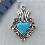 Turquoise Sacred Heart Pendant