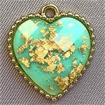 Turquoise Gold Foil Faceted Heart Acrylic Charms 19x18mm Gold Plated Q4 per Pkg