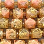 Gold Foil Rose Nugget Resin 17x16mm Beads 3.4mm Hole Per Strand