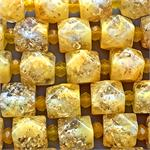 Gold Foil Mango Nugget Resin 17x16mm Beads 3.4mm Hole Per Strand