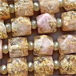 Gold Foil Mauve Nugget Resin 17x16mm Beads 3.4mm Hole Per Strand