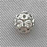 Rhinestone Filigree Round Ball Antique Silver Plated 6mm Beads Q24 per Pkg
