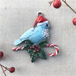 Bluebird Christmas Santa Bird Pendant
