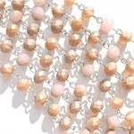 April Blush Frosted Pink Gold Rosary Style Chain