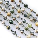 Shimmering Forest Stone Rosary Style Chain