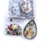 Christmas Collage Pendant 3 Little Angels Resin Rhinestones DIY Mini Kit