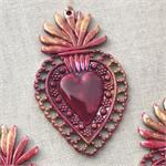 Red Art Deco Crown Heart Charm