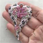 Hand Painted Leopard Heart Wing Pendant