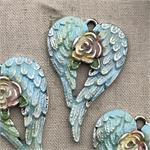 Small Shabby Rose Wing Charms Blue