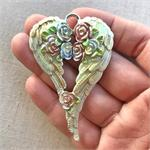 Artisan Green Easter Shabby Angel Wing Pendant
