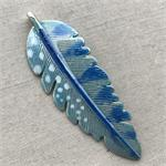 Blue Boho Hand Painted Feather Pendant