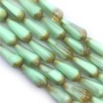 Mint Picasso Ombre Faceted Teardrops