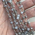 Silverpointe Gray Matte Crystal Beaded Rosary Chain