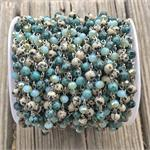 Robin's Egg Blue Speckled Beaded Rosary Chain