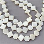 Coin Diamond White Mother of Pearl Shell Beads