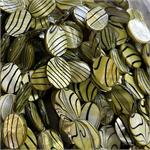Olive Stripe Green Shell MOP Oval Beads