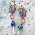 Dry Gulch Copper Rustica Earrings Semi Precious Czech Glass Copper Wire Kit