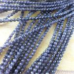 4mm Dk Gray Faceted Round Cat's Eye Beads